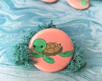 Kawaii Sea Turtle Pinback Button or Magnet - ( buttons pin pins cute flair )