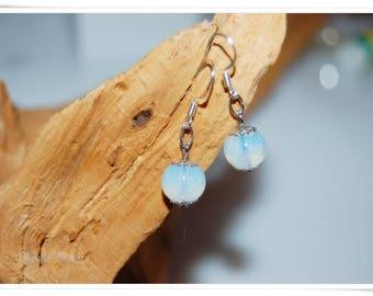 Opal earrings opal glass 925 Silver Earring hooks