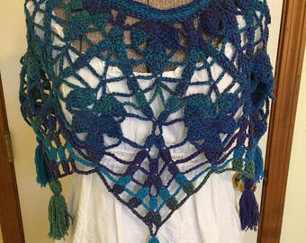 NEW Handmade Crochet Poncho Lacy Blue Turquoise Purple Green Soft Tassels Lagenlook (Anthropologie) Inspired Pullover
