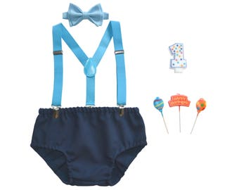 Blue Cake Smash Outfit Boy -- First Birthday Outfit Boy -- Blue Suspenders & Baby Blue Bow Tie with Navy Diaper Cover