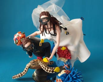 Personalised Scuba Diving Couple With Turtle Wedding Cake Topper