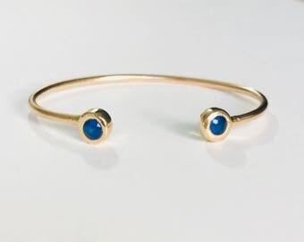 synthetic sapphire Bangle Bracelet