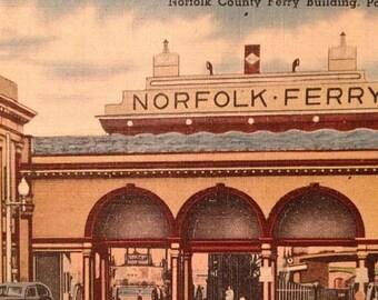 ON SALE Vintage Norfolk County Ferry Building Portsmouth Virginia VA 1940's Linen Postcard Old