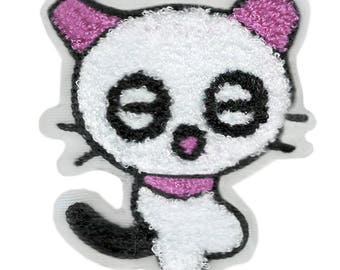 Large & Cute Xl 9cm Chenille Pink Kitty Cat Patch Applique