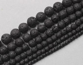 Natural Lava Beads Full Strand 15.5 inch Round Black Volcanic Rock Healing Stone Gemstones wholesale mala 4mm 6mm 8mm 10mm 12mm 14mm MHA-167