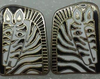 "Vintage Laurel Burch ""Zebra Mare"" stud earrings enamel black & white 22KT Gold plated"