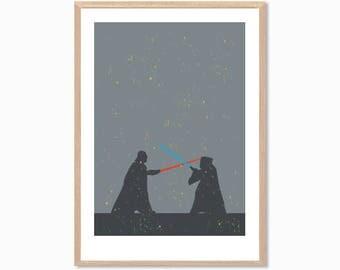 STAR WARS | Darth Vader and Ben Kenobi Duel Poster : Modern Movie Seventies Illustration Art Wall