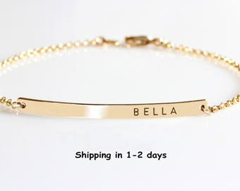 Mom bracelet with names Kids bracelet Mothers Rose Gold bar bracelet Silver Custom engraved bracelet Monogram Mothers day gift Bridesmaids