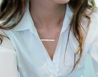 Custom coordinates necklace, Engraved Coordinates bar necklace Personalized Bridesmaids gift Coordinate jewelry Location necklace Bridesmaid