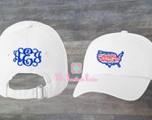 Preppy Monogrammed America Applique Hat, Personalized USA Hat