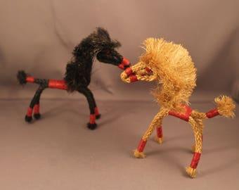 The most Lovely Pair of Horses Scandinavian Folk Art Figurines True 50s or 60s Vintage mid century modern Figure Handmade Denmark Danish