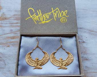 Gold Isis Earrings - Egyptian Goddess - Isis Collection - Ancient Egyptian Artifact - Feather Tribe