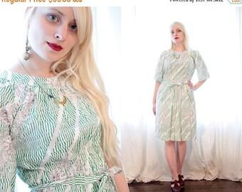 BIG SALE Vintage 1970s cotton sundress white green Geo floral print picnic timeless sun dress 70s