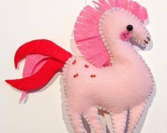 Pink felt horse ornament