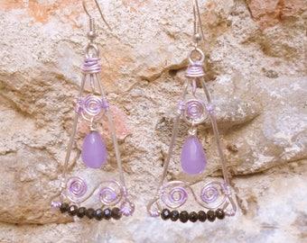 Silver triangle - purple gemstone earrings