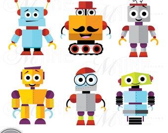 HAPPY ROBOTS Clip Art / Cute Robot Clipart Downloads / Robot Party, Cute Robots Theme, Robot Scrapbook Clipart, Vector Robots