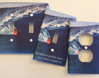 Ocean Surfing wave light switch plate beach ocean tide sea // With or Without Quote // SAME DAY SHIPPING**