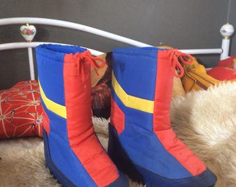 Vintage Orange Yellow and Blue Moon Boots