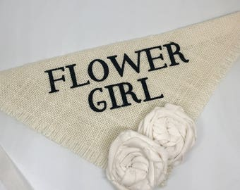 Custom Flower Color Wedding Dog Bandana Flower Girl Collar Bandana Ivory Burlap Blush Flowers Engagement Photos Proposal Bridal Gift Save th