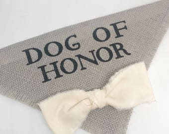 Custom Bowtie Color Gray Wedding Dog Bandana Dog of Honor Grey Burlap Bow Tie Engagement Save the Date