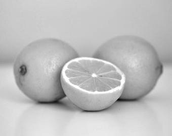 Grey kitchen decor wall art, lemon art picture, modern kitchen fine art print 11x14, 8x10, black and white photography, dining room artwork