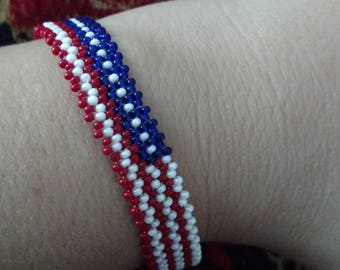 Beaded bracelet, American flag, patriotic jewelry