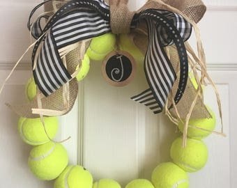Burlap tennis wreath with tag