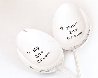 Ready to ship my your ice cream spoons, Vintage hand stamped spoons, Custom engraved spoon, wedding gift for him & her, ice cream lover