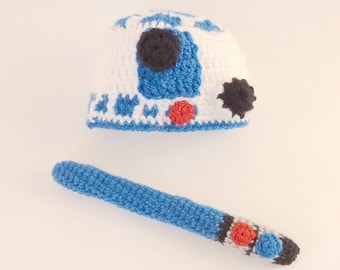 R2D2 Costume - Hat From Star Wars With Light Saber Premie, Newborn, Child, Teen, Adult - Halloween / Cosplay Wig