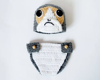 Porg Baby Hat and Diaper Cover Costume From Star Wars For Girl - Premie, Newborn Photo Prop/ Halloween/ Cosplay Wig/ Baby Shower Gift