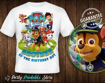 Brother of the Birthday Boy,Design Shirt Paw Patrol,Birthday Party,Personalized Family Shirts, Iron on Transfer, Printable, Instant Download