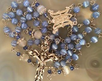 Beautiful Blue Cat's Eye Rosary