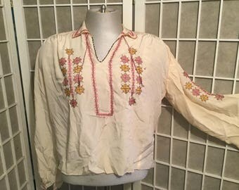 1940s Silk Greek Hand Sewn Embroidered Blouse