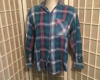 Sale Vintage 1960s Embroidered Plaid Painters Shirt Medium