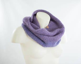 Silky soft lilac cowl,handknit in elegant pearl knit, fine wool and mohair, warm spring silky round scarf, snug silky soft winter neckwarmer