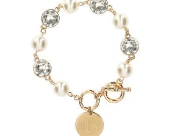 Heartstrings Crystal and Pearl Bracelet