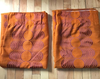 Vintage 1960s Pair Orange Curtains Panels!