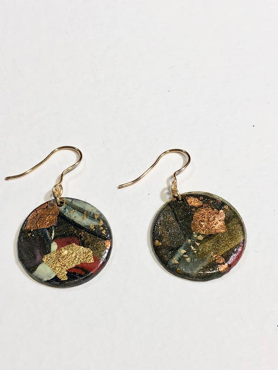 Handmade round polymer clay earrings with abstract designs (multi-colors)