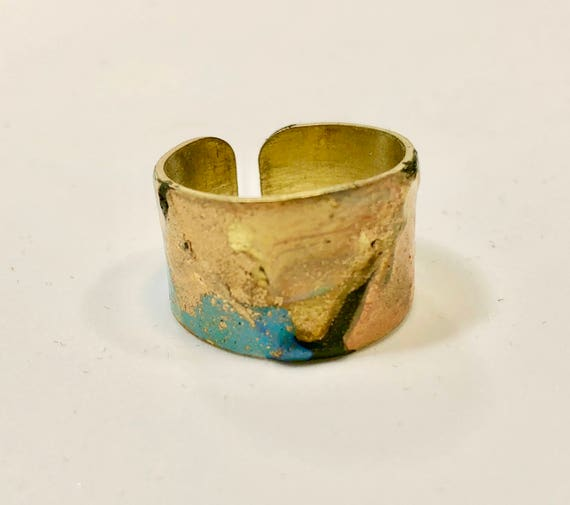 Enamel painted brass adjustable ring with abstract designs (multi-colors).