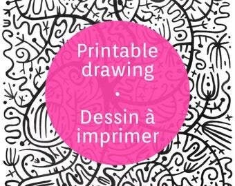 Printable floral sheet, ink floral drawing to print
