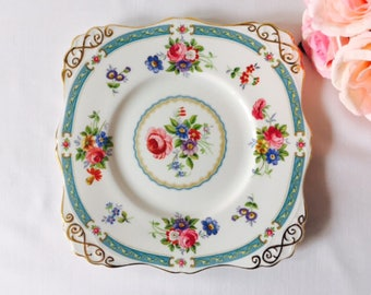 Not for sale reserved BL 16/07/17 Tuscan 'Lowestoft' Cake Plate, Blue & Floral, Staffordshire, 1940s.