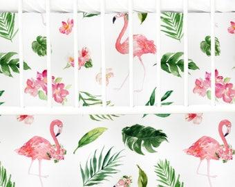 Tropical Floral Flamingo's Flat Panel Skirt | Floral, Watercolor , Flamingo Flat Panel Crib Skirt | Flamingo Inspired Crib Bedding