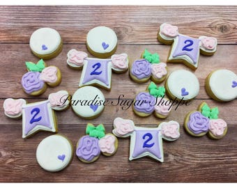 Girly Flower Rosette Birthday Minis - 3 Dozen MINI Cookies