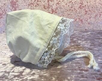 Baby Bonnets Girls Bonnet Cream White Floral Linen Hat Newborn Toddler Girl Embroidered Beige Baby Hats
