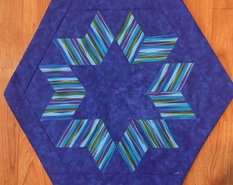 Star of David in Blues and Greens Matzah Cover for your Passover Seder