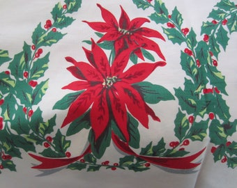 Vintage Christmas Tablecloth/ Christmas Linen/ Poinsettias/ Holly Berries/ Green and Red/ Vintage Linen/ Christmas Decor/ Large/ Holiday