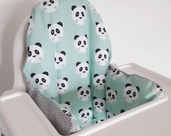 Antilop IKEA highchair cushion cover - cushion cover only - Mint Panda and dotty grey fabric cushion cover - gender neutral - MADE to ORDER