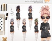 """BAE with Coffee Shirt. Quote. """"But First, Coffee"""" Watercolor Clipart Fashion Girls. Illustration Art. Sticker Planner. Blog. Fashionista."""