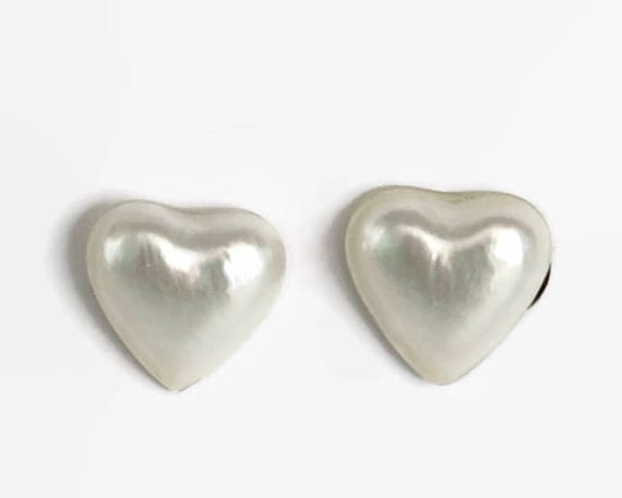 Small heart shaped earrings on sterling silver posts, faux mother of pearl puffy hearts, stud earrings on posts, lustrous white earrings