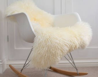 Ivory Sheepskin Rug Luxuriously soft and Curly Australian sheepskin Throw, Chair Cover